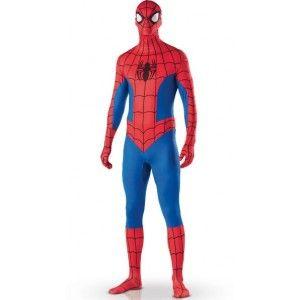 deguisement Spiderman Adulte 2ND SKIN seconde peau, déguisement Spiderman 2nd skin Homme sous licence de Marvel combinaison Spiderman intégrale, ont peut à travers elle: respirer, boire et regarder. Costume adulte pour Halloween et fêtes déguisées.