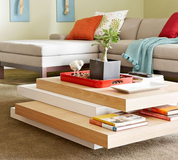 DIY TUTORIAL Stacked Coffee Table  Made from laminated hollow-core doors placed on top of one another, this simple yet elegant coffee table really stacks up!