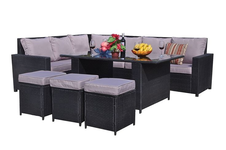 Yakoe Conservatory 9 Seater Rattan Garden Furniture Corner Dining Set - Black ** Be sure to check out this helpful article. #GardenFurnitureandAccessories