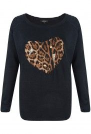 Madam Rage Black Animal Embellished heart knit