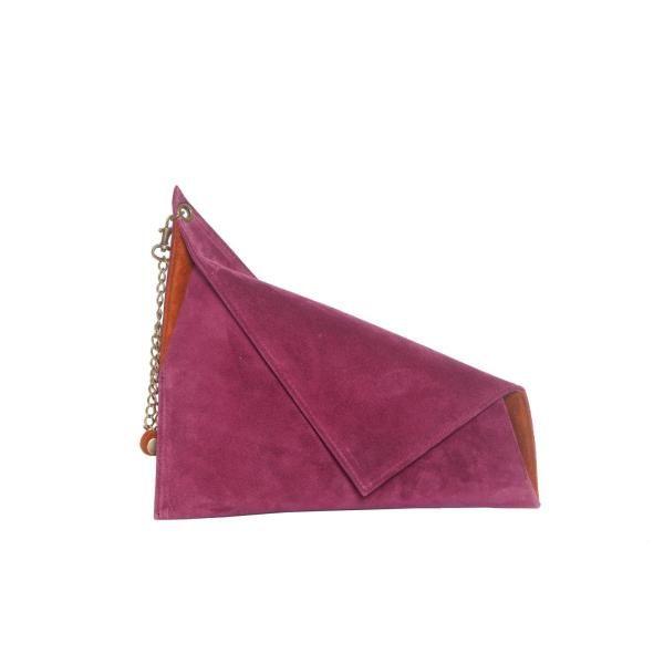 Bordeau Suede Asymmetric Clutch Bag by Georgina