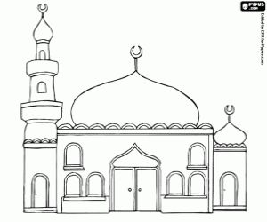 Free A mosque with the domes and the minaret coloring and printable page.