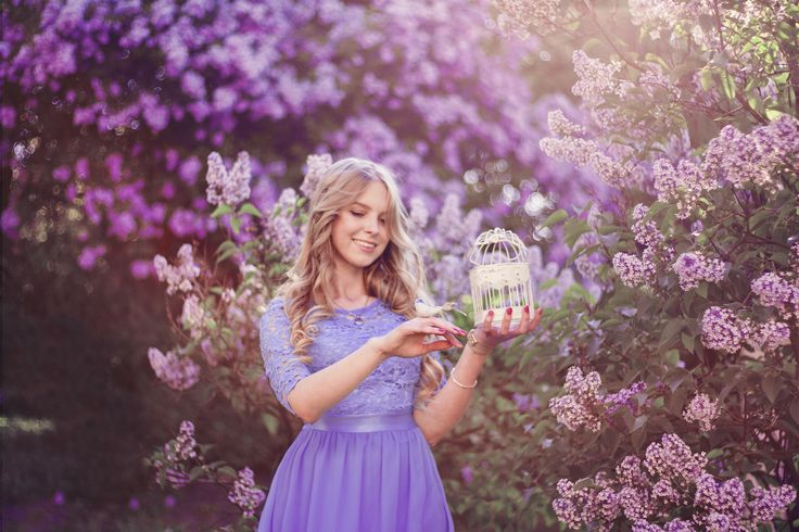 Mod. Marta Kołątaj One of my favorite <3   #photography #photoshoot #photo #ideas #blossom #flowers #magic #spring #fairytale #dress #color #blonde #girl #smile #bird #cage #purple #lilac