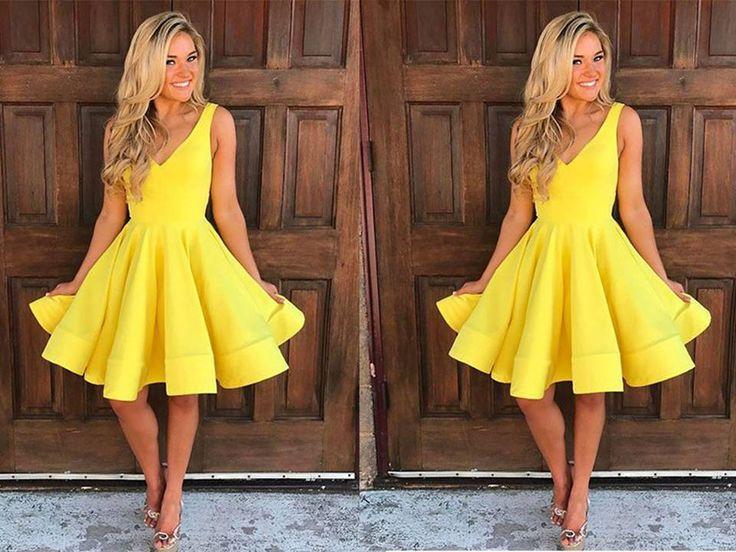 Cute Yellow V-Neckline Short A-Line Dress