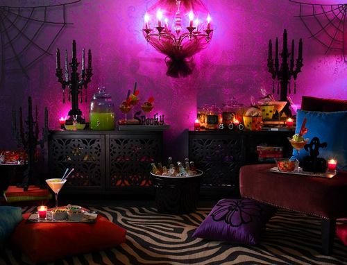 pink back lighting can be very eerie halloween pink o ween theme halloween party decorations ideas - Halloween Room Ideas