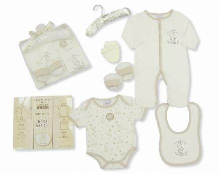 Stunning 6 piece classic baby bear gift set. This amazing gift set comes complete with a baby sleep suit, body suit, bib, booties, mittens and luxury hanger. Comes packaged in a stunning box with bow to make the perfect new born gift. Suitable for ages of 0-6 months.