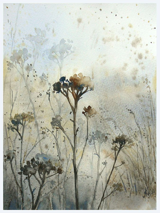 Winter's Meadow watercolor by Mashami