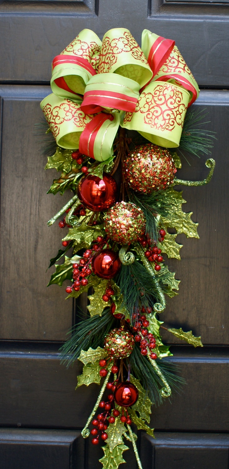 Christmas Wreath, Christmas Swag, Whimsical, Glittered Berries and Glittered Leaves. $85.00, via Etsy.