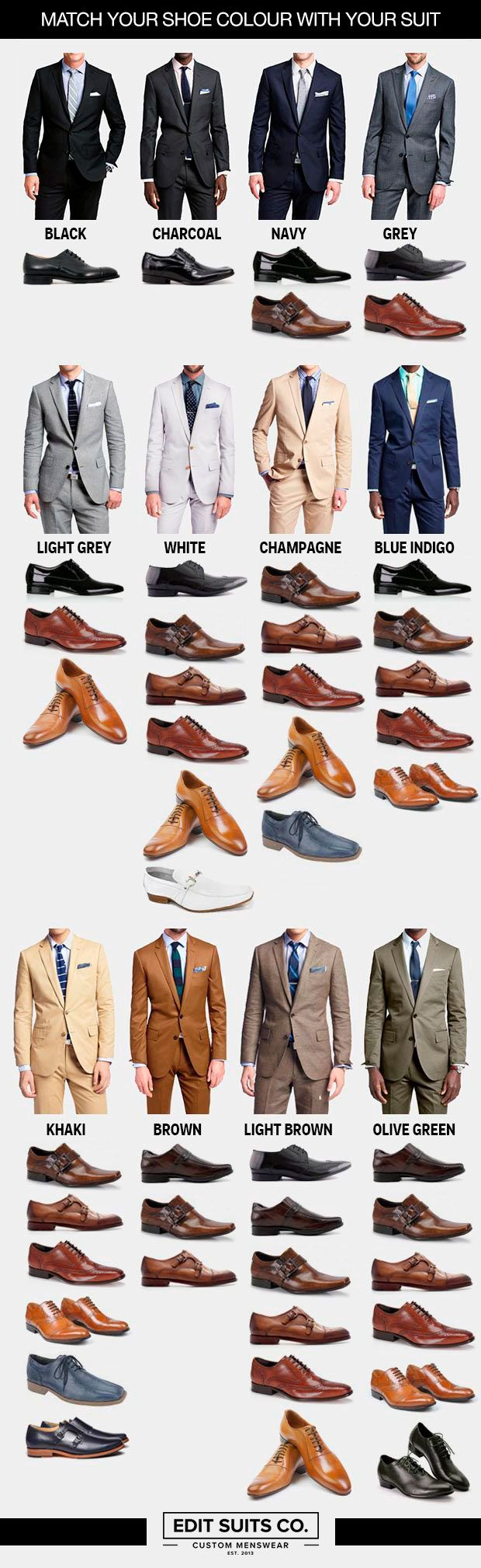 Need help choosing the perfect pair of shoes for every colour of suit?