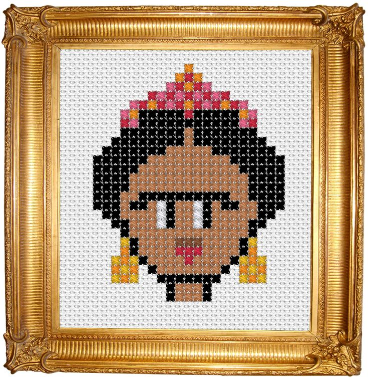 Frida Kahlo queen of selfies cross stitch embroidery pattern free