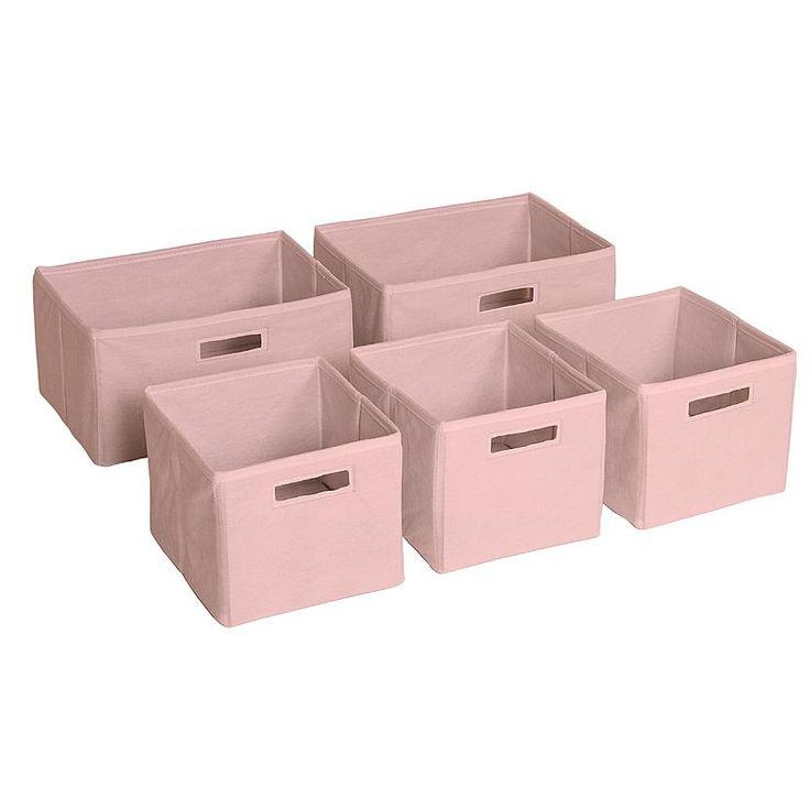 Guidecraft Pink Storage Bins-Set of 5