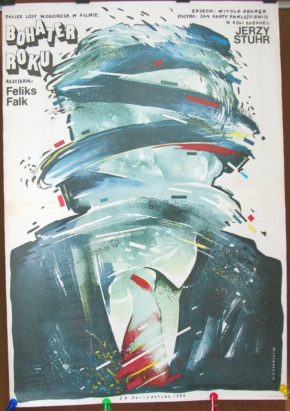 Hero of the Year. Polish 1986 film by Feliks Falk. Polish poster by Witold Dybowski 1986. Drama