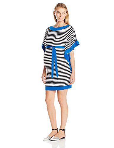 Melody Maternity Womens Maternity Short Sleeve Kaftan with Tie Black Stripe With Royal Trim Medium * Click image to review more details.Note:It is affiliate link to Amazon.