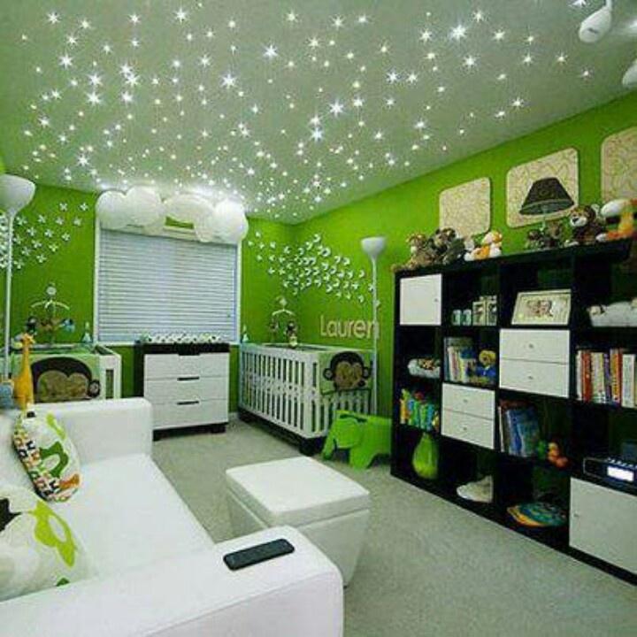 Green Nursery - love the sparkly lights.