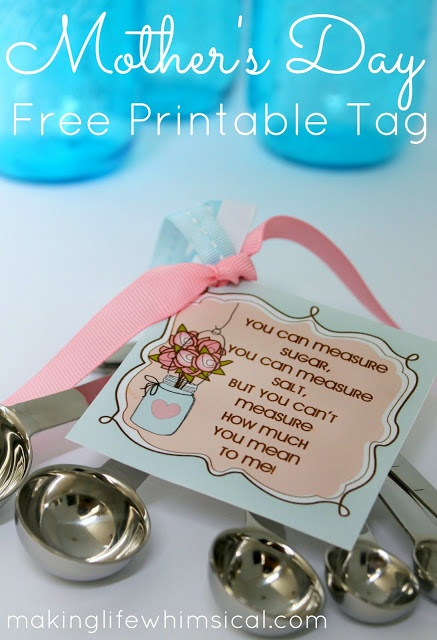 FREE Mothers Day Tag and Recipe Cards www.makinglifewhimsical.com