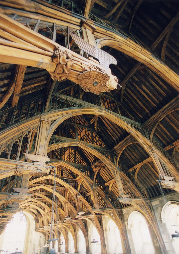 https://flic.kr/p/57C34i | Westminster Hall - ceiling | Westminster Hall is the oldest remaining part of the Houses of Parliament, with its walls being erected in 1097 in the reign of William Rufus. The roof was originally supported by two rows of pillars, but by 1399 Richard II wanted to make the Hall more impressive by building an unsupported roof. This great challenge was met by carpenter Hugh Herland and architect Henry Yevele. They solved the problem by building huge hammer shaped oak…