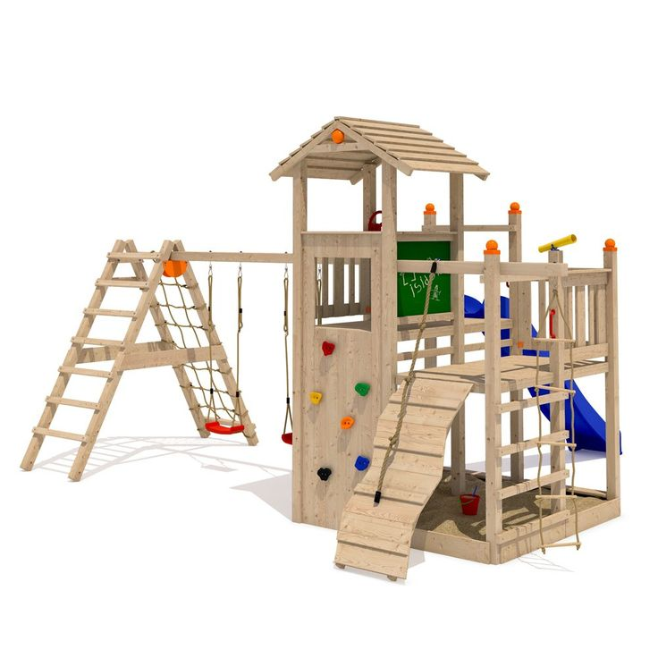 ISIDOR Fluppy Flu Spielturm Kletterturm großer Sandkasten Rutsche 2 Schaukeln (erweiterter Schaukelanbau inkl 2 Schaukeln)