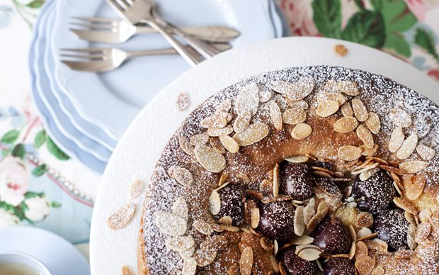 This delicious cherry and almond cake is lovely for pudding, served warm with   kirsch-flavoured cream