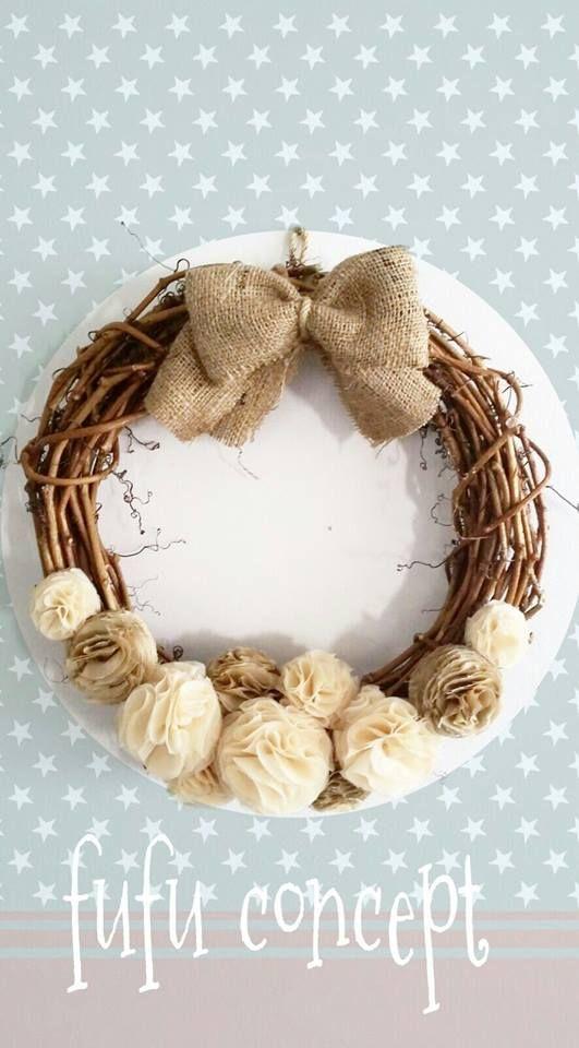 kumaş - çelenk - çiçek - wreath - home deco home design - fabric flower - ev dekorasyonu -aksesuar - fabric