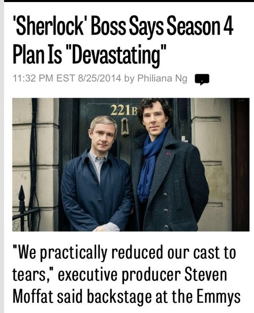 """Sherlock Boss Says Season 4 Plan is 'Devastating' "" Oh boy I'm so excited *cries for another 12 months*"