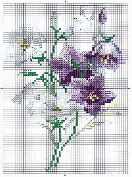 Como bordar flores en punto de cruz