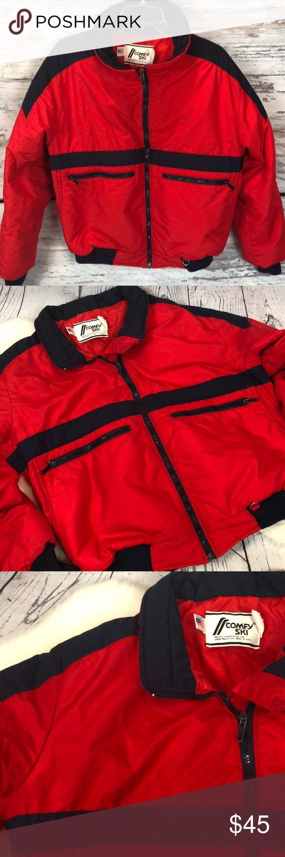 "•Vintage• Bomber Comfy Ski Sown Jacket Coat USA L Sweeeeet RETRO Vintage Comfy Ski Red Bomber Down Coat. Red & Navy. Very WARM coat ... side & front zippered pockets. Elastic at waist & cuffs. Made in the USA. True 1980's vintage gem! In very good condition...only minor discoloring at neck area inside zipper. Appears black but it is a true navy & vibrant red. No size listed so please review measurements!!  Fits me as a women's XL.  Approximate measurements: Armpit to armpit: 25"" Armpit to…"