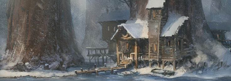 Concept of a swamp house #conceptart #illustration #swamp #house #winter #frozen #lake #forest