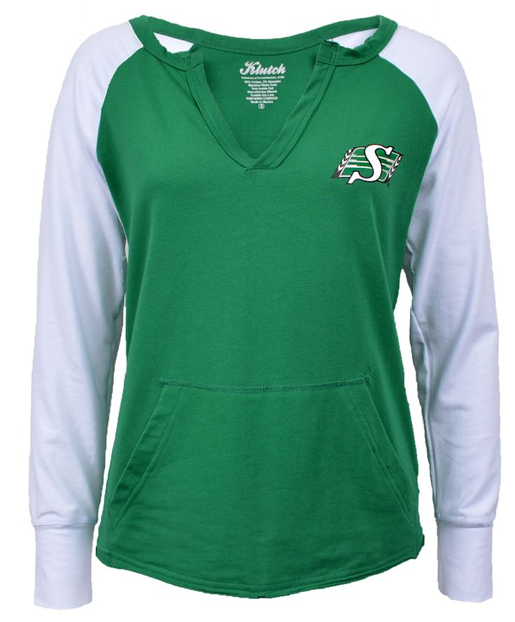 14 Ladies Gameday Pull-over - by Klutch is a sporty fit green and white tee with deep v-neck, pocket and team shield logo printed on the left chest.