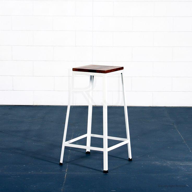 Industrial Sally Stool - White / Medium size
