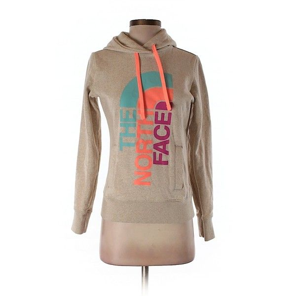 Pre-owned The North Face Pullover Hoodie Size 0: Tan Women's Tops ($41) ❤ liked on Polyvore featuring tops, hoodies, tan, the north face hoodie, brown hoodie, pullover tops, pullover hoodie and brown hooded sweatshirt