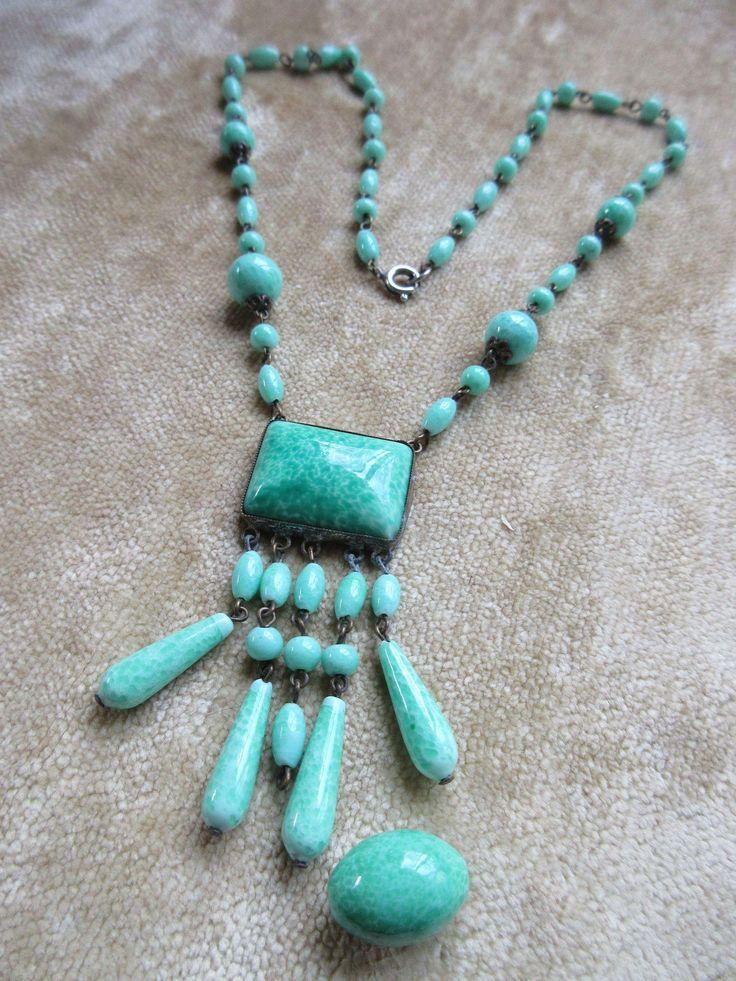 Vintage 30s Czech Peking Glass Necklace