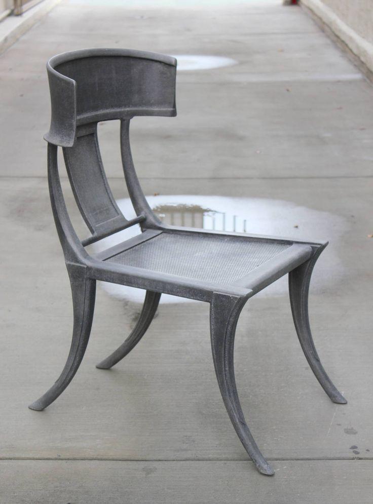Pair Of Michael Taylor Cast Aluminum Klismos Chairs Image 2