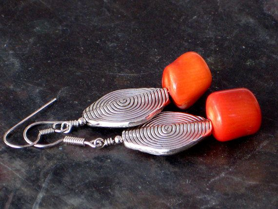 Red Coral Earrings Silver Drop Earrings Boho by PiscesAndFishes