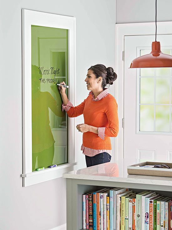 framed glass that is painted on the back - as a prettier alternative to a white board in the kitchen. good for leaving notes or making grocery lists.: Chalkboards, Messages Boards, Diy White Boards, Window, Frames Glasses, White Offices, Offices Ideas, Great Ideas, Dry Erase