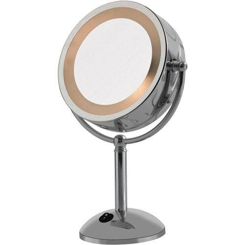 Espelho de Aumento Dupla Face com Luz 3x - Cromado - G-Life