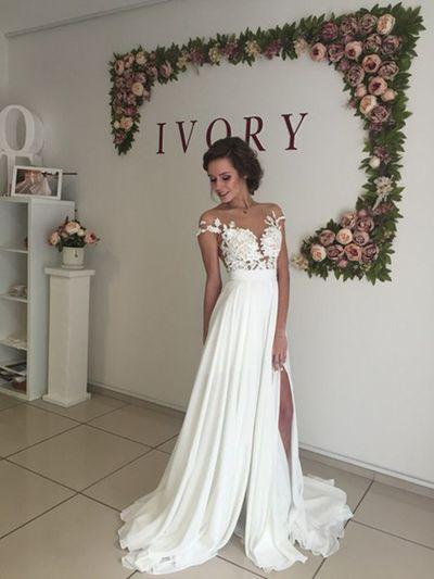 long chiffon wedding dress ,short sleeves wedding dress ,cheap wedding dress…