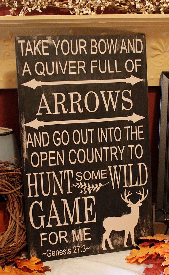 Bow and Arrow Hunting Sign,Deer Sign,Hunting Sign,Rustic Hunting Sign,Typography…