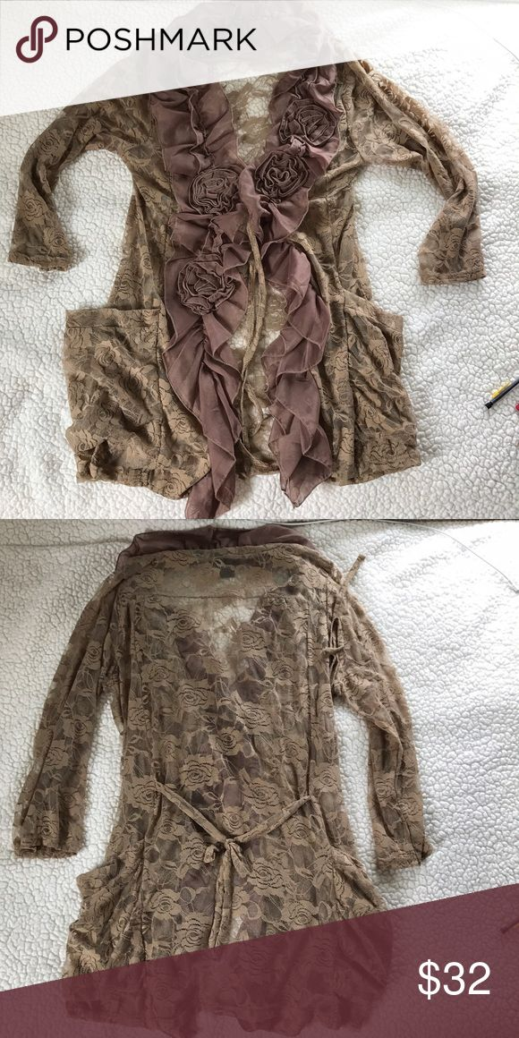 "👜Light Brown Lace Jacket👜 So so feminine and lacy! It looks a lot like an RYU jacket that I have so I haven't worn it a lot. There are two pockets on the side and two ties on it. Feel free to make any offers or ask questions!! (Bust-21""&65% polyester, 35% cotton) Urban Mango Jackets & Coats"