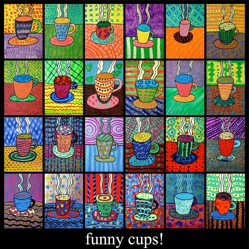 Funny cups painted with tempera!  This is a good exercise to learn how many textures you can paint with tempera colours, and how many ways there are to use use a paintbrush. Enjoy! paint the backgr…
