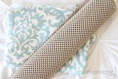 Thrifty and Chic - DIY Projects and Home Decor - diy rug from fabric & shelf liner.