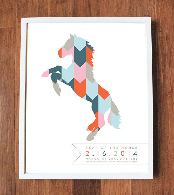 Year of the horse print with geometric pattern by AlmostSundayInc, $35.00