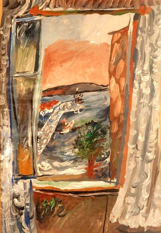 Иван Пуни. «Открытое окно, Ривьера». 1926-27 г. Бумага, гуашь, 50 х 34 см.