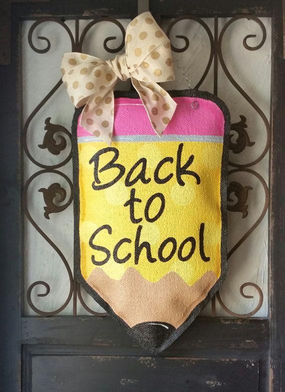 Polka dot Pencil hand painted burlap door hanger, back to school door decor, teacher gift, teacher door hanger