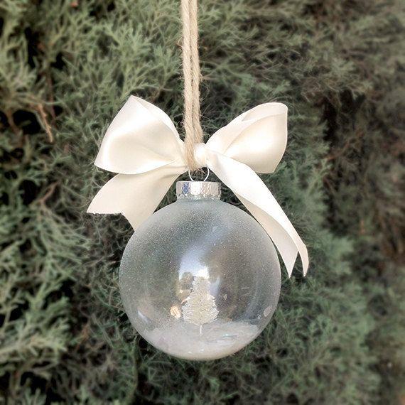 Custom Holiday Tree Ornament, Personalized Christmas Ornament Name, Custom Snow Globe Ornament, Frosted Snow Globe Ornament