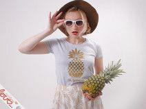 "T-Shirt "" Pineapple Love"" Gold-Grau Melliert"