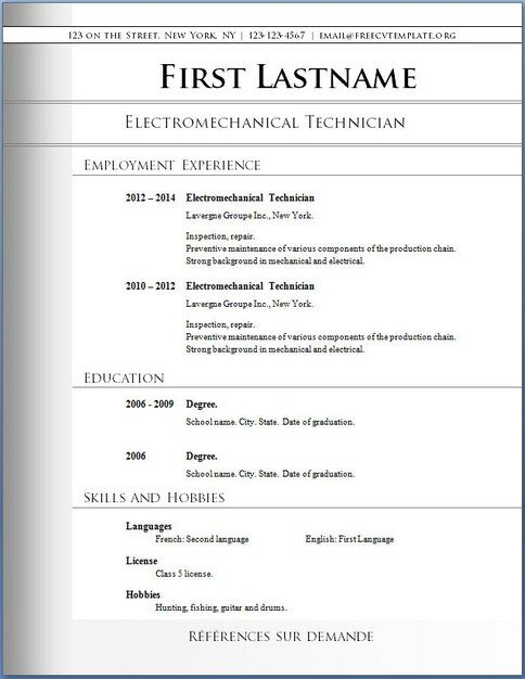 11 best Free Downloadable Resume Templates images on Pinterest - free resume template for word 2010