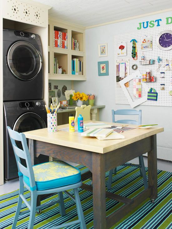 With a few simple furnishings, this laundry room was transformed into a family-friendly office and work space: http://www.bhg.com/rooms/laundry-room/makeovers/laundry-room-decorating-ideas/?socsrc=bhgpin031714hobbyhaven&page=11