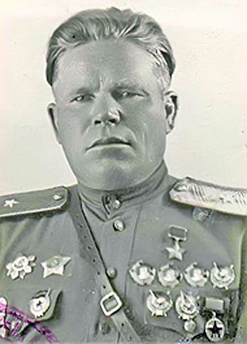 Guards Major-General Konev Ivan Nikitich (1899-1983) a Soviet military leader, a participant of the Civil, the Soviet-Polish (1919-1921), the Battles of Khalkhin Gol (1939) and the Great Patriotic (WWII in Russia) wars, the Hero of the Soviet Union. Commanded of the 8th Airborne Corps (1942, reorganized into the 3rd Airborne Division) and the 3rd Airborne Division (1942-1945, the Budapest offensive, the Balaton defensive and the Vienna offensive operations).