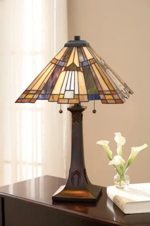 The Inglenook Tiffany Table Lamp. Mission style without all of the boring browns...