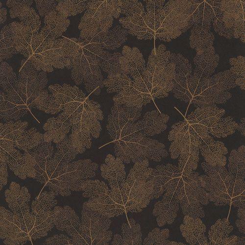 Tapet med vackra skira löv i guld på brun botten från kollektionen Allegro, ALL202. Klicka för fler fina tapeter för ditt hem!